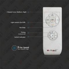 V-TAC VT-5022 Ventilatore LED Soffitto a Scatola Motore a Corrente Alternata da 50W e Telecomando 3in1 Colore Grigio - SKU 7935