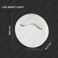 Faretto LED Chip Samsung Segnapasso Notturno Rotondo 0,45W con Sensore Crepuscolare Colore Bianco 4000K IP20 - SKU 829