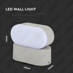 V-TAC VT-816 Lampada LED da Muro Ovale 6W Colore Grigio con Testa Ruotabile 3000K IP65 - SKU 8290