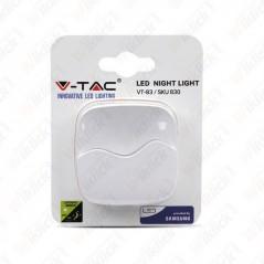 V-TAC VT-83 Faretto LED Chip Samsung 0,45W con Sensore Crepuscolare Colore Bianco 60*60*54,5 mm 3000K IP20 - SKU 830
