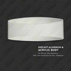 V-TAC VT-705 Lampada LED da Muro Arrotondata 5W Colore Bianco 3000K IP20 - SKU 8208