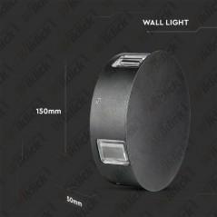 V-TAC VT-706 Lampada LED da Muro Rotondo 4W Colore Nero 3000K IP65 - SKU 8215