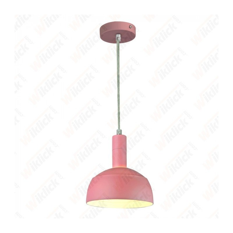 Plastic Pendant Lamp Holder E27 With Slide Aluminum Shade Pink