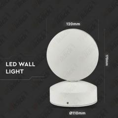 V-TAC VT-707 Lampada LED da Muro Arrotondata 7W Fascio Luminoso a 360° Colore Bianco 3000K IP65 - SKU 8217