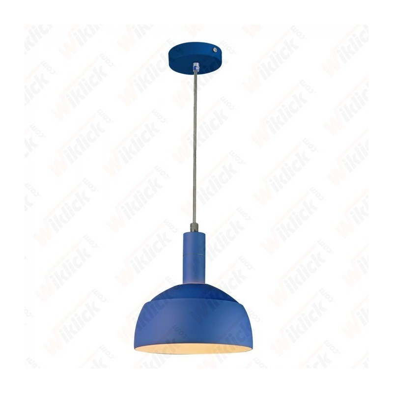 Plastic Pendant Lamp Holder E27 With Slide Aluminum Shade Blue