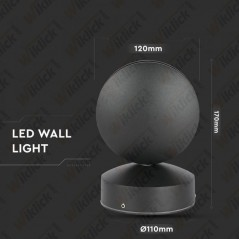 V-TAC VT-707 Lampada LED da Muro Arrotondata 7W Fascio Luminoso a 360° Colore Nero 3000K IP65 - SKU 8219