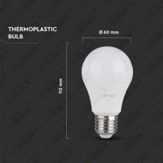 V-TAC PRO VT-209 Lampadina LED Chip Samsung E27 9W A58 3000K - SKU 156