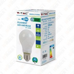 V-TAC VT-1939 Lampadina LED E27 4W A60 Filamento Bianco 2700K - SKU 4489