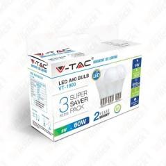 V-TAC VT-1900 Lampadina LED E27 9W A60 6400K (Box 3 pezzi) - SKU 7242