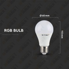 V-TAC VT-2022 Lampadina LED E27 6W A60 RGB+W con Telecomando 2700K (Blister 1 pezzo) - SKU 7324