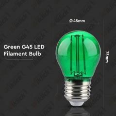 V-TAC VT-2132 Lampadina LED E27 2W G45 Filamento Colore Verde - SKU 7411