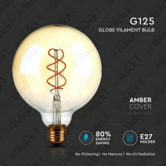 V-TAC VT-2085D Lampadina LED E27 5W G125 Filamento Ambrato 2200K Dimmerabile - SKU 7415
