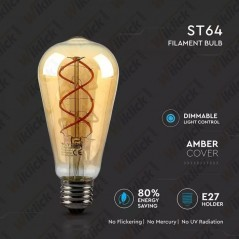 V-TAC VT-2065D Lampadina LED E27 5W ST64 Filamento Ambrato 2200K Dimmerabile - SKU 7416