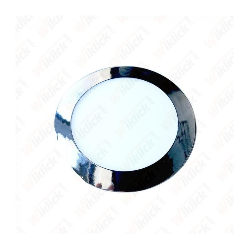 24W LED Slim Panel Light Chrome Round 3000K