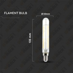 V-TAC VT-2204 Lampadina LED a Filamento E14 4W T20 con Vetro Trasparente 4000K - SKU 2702