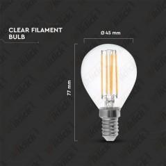 V-TAC VT-1996 Lampadina LED a Filamento Incrociato E14 4W P45 Vetro Trasparente 2700K - SKU 43001