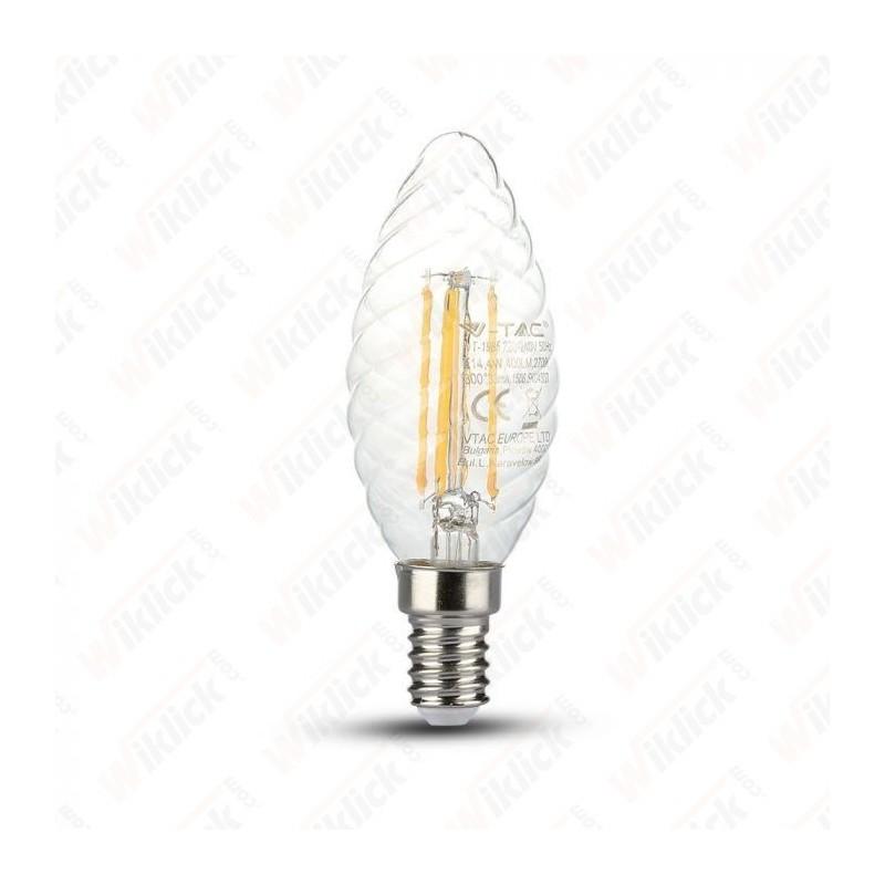 V-TAC VT-1985 Lampadina LED a Filamento E14 4W Candela Tortiglione Vetro Trasparente 2700K - SKU 4307