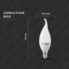 V-TAC VT-1855TP Lampadina LED E14 6W Candela a Fiamma 6400K - SKU 4353