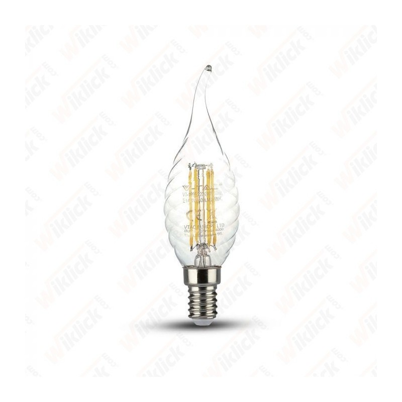 V-TAC VT-1995D Lampadina LED a Filamento E14 4W Candela Tortiglione Vetro Trasparente 2700K Dimmerabile - SKU 4388