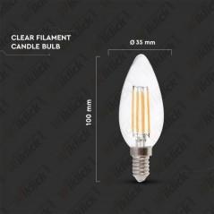 V-TAC VT-1986 Lampadina LED a Filamento E14 4W Candela Vetro Trasparente 6400K - SKU 4414