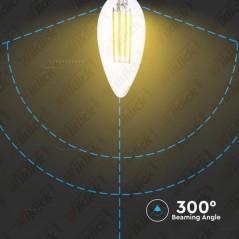 V-TAC VT-1986D Lampadina a Filamento Incrociato LED E14 4W Candela Vetro Trasparente 2700K Dimmerabile - SKU 43651