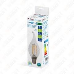 V-TAC VT-1995D Lampadina LED Filamento Incrociato E14 4W Candela Fiamma Tortiglione Vetro Trasp. 2700K Dimmerabile - SKU 43881