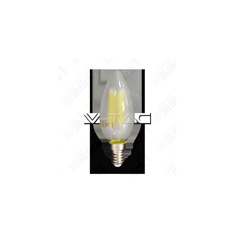 V-TAC VT-1936 Lampadina LED a Filamento E14 4W Candela Vetro Opaco 2700K - SKU 4474