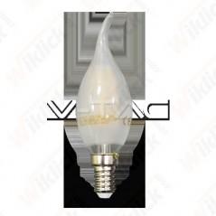 V-TAC VT-1937 Lampadina LED a Filamento E14 4W Candela a Fiamma Vetro Opaco 6400K - SKU 4479