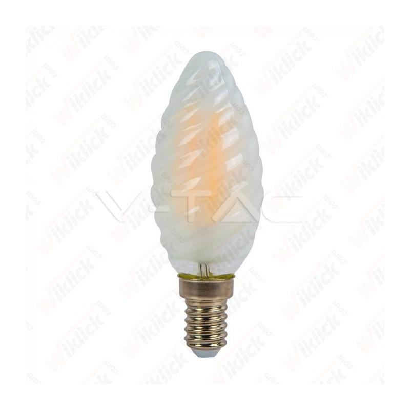 V-TAC VT-1928 Lampadina LED a FilamentoE14 4W Candela Tortiglione Vetro Opaco 4000K - SKU 7108