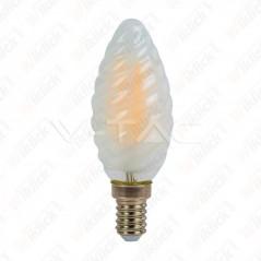 V-TAC VT-1928 Lampadina LED a Filamento E14 4W Candela Tortiglione Vetro Opaco 6400K - SKU 7109