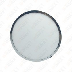 12W LED Surface Panel Light Chrome Round 6000K