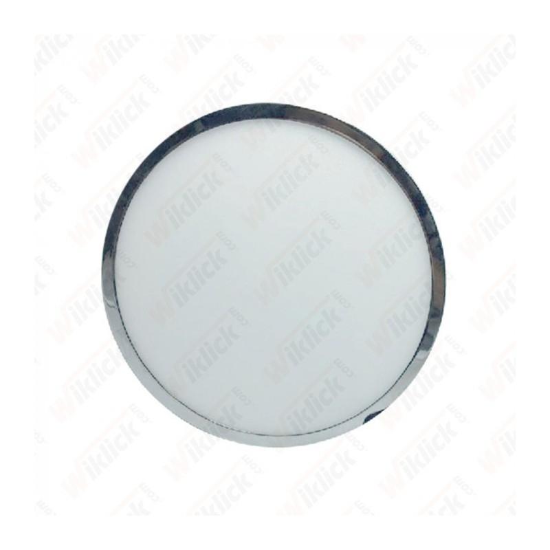 12W LED Surface Panel Light Chrome Round 6000K
