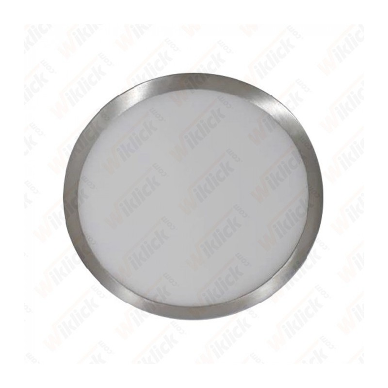 12W LED Surface Panel Light Satin Nickel Round 6000K
