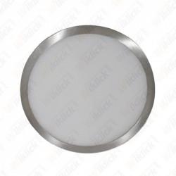 18W LED Surface Panel Light Satin Nickel Round 3000K