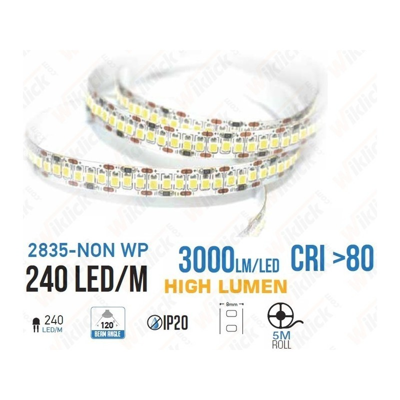 LED Strip SMD2835 - 240 LEDs High Lumen 3000K IP20 - NEW