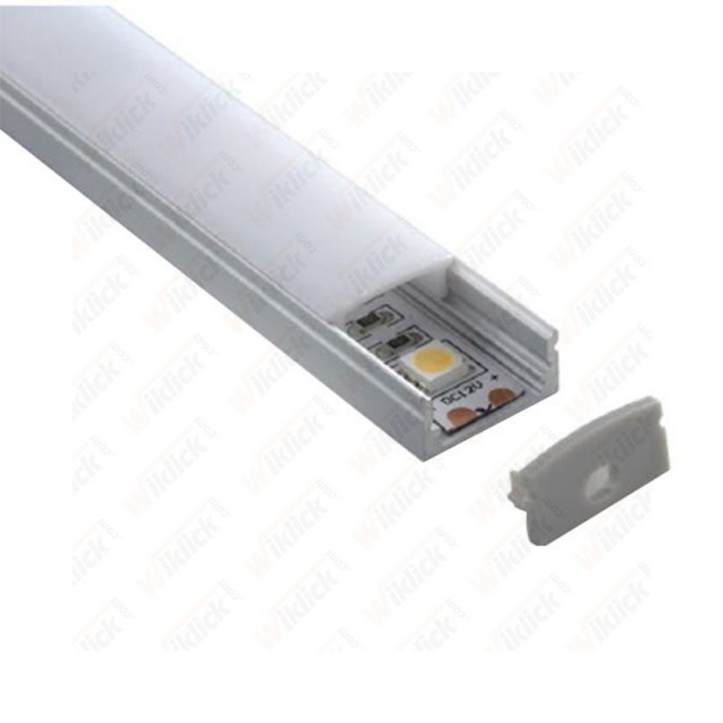 Aluminum Profile Set Milky Cover Narrow 200cm