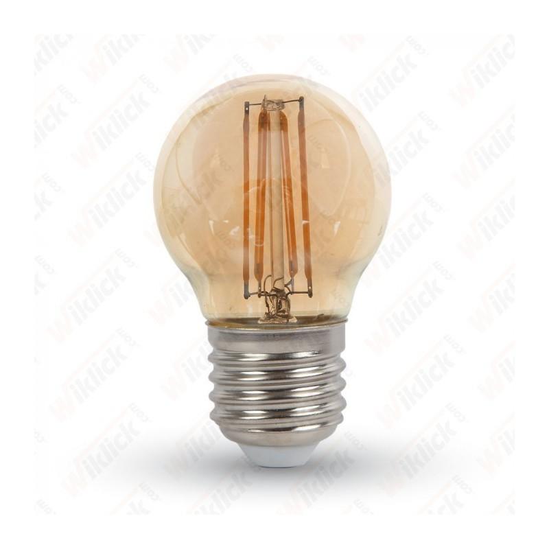 V-TAC VT-1957 LAMPADINA LED E27 4W G45 FILAMENT CON VETRO AMBRATO LUCE BIANCO CALDO