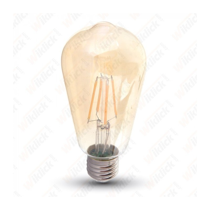 V-TAC VT-1964D LAMPADINA LED E27 4W ST64 FILAMENT DIMMERABILE CON VETRO AMBRATO LUCE BIANCO CALDO