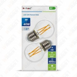 LED Bulb - 4W Filament  E27 G45 Clear Cover 2700K  (Blister 2 Pezzi)