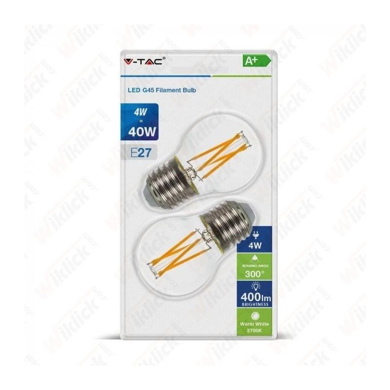 V-TAC VT-2194 Lampadina LED 4W E27 G45 Filamento 2700K (Blister 2 pezzi) - SKU 7367