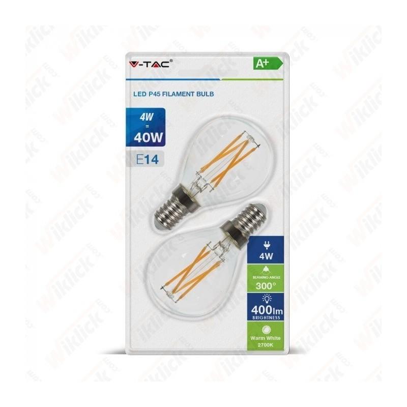 LED Bulb - 4W Filament E14 P45 Cross Clear Cover 2700K (Blister 2 Pezzi)