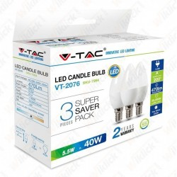 LED Bulb - 5.5W E14 Candle 2700K (Box 3 pezzi)