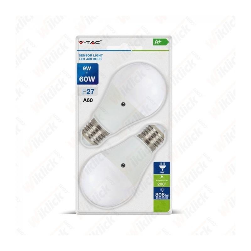 LED Bulb - 9W E27 A60 Thermoplastic Sensor 200D 2700K (Blister 2 Pezzi)