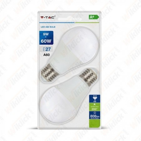 LED Bulb - 9W E27 A60 Thermoplastic 2700K (Blister 2 Pezzi)