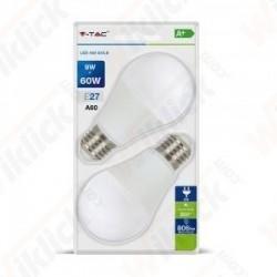 V-TAC VT-2139 Lampadina LED E27 9W A60 4000K (Blister 2 pezzi) - SKU 7295