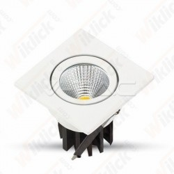 3W LED Downlight COB Square - White Body 3000K