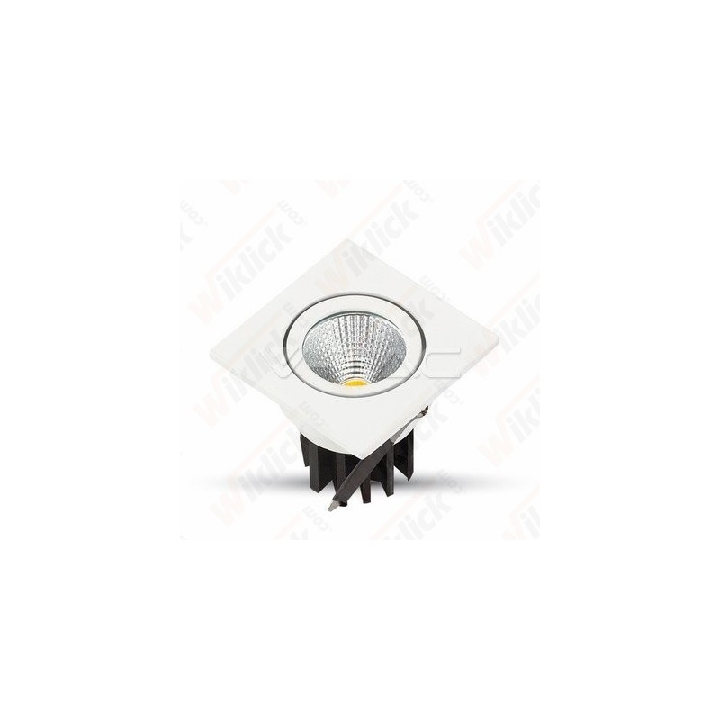 3W LED Downlight COB Square - White Body 3000K