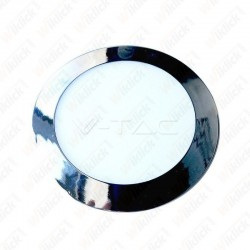 6W LED Slim Panel Light Chrome Round 3000K