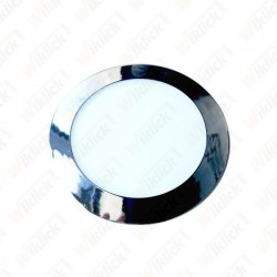 12W LED Slim Panel Light Chrome Round 6000K