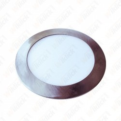 6W LED Slim Panel Light Satin Nickel Round 6400K